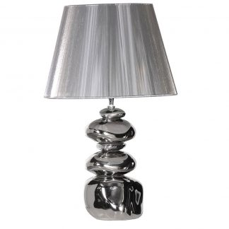 Silver stacked pebble table lamp