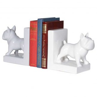 White and grey bulldog bookends