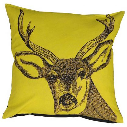 Yellow stag cushion