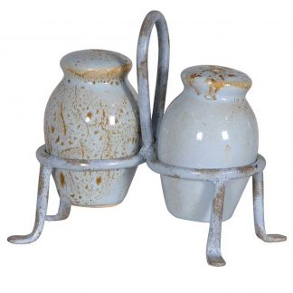 Blue ceramic cruet set
