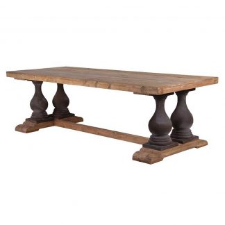 Refectory table in reclaimed pine with painted turned legs