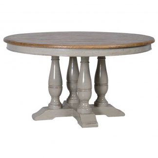 Limed oak round table with a painted base