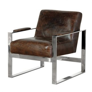 Leather/ stainless steel armchair